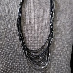EXPRESS Black & Silver Multichain Necklace